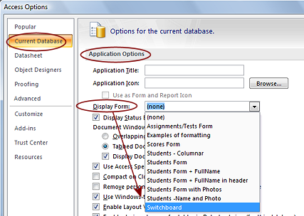 how to create switchboard in access 2010
