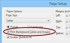 Dialog Page Setup Print Background Colors And Images IE9