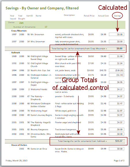 Reports: Calculated Totals | Forms & Reports | Jan's Working with
