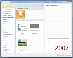 Templates themes template format jans working with presentations dialog new presentation blank powerpoint 2007 toneelgroepblik Image collections