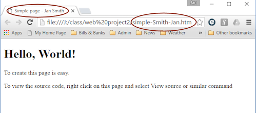 HTML Code: Page | HTML & CSS Basics | Jan's Working with the Web