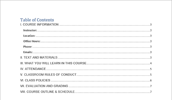 table of contents page word 2013